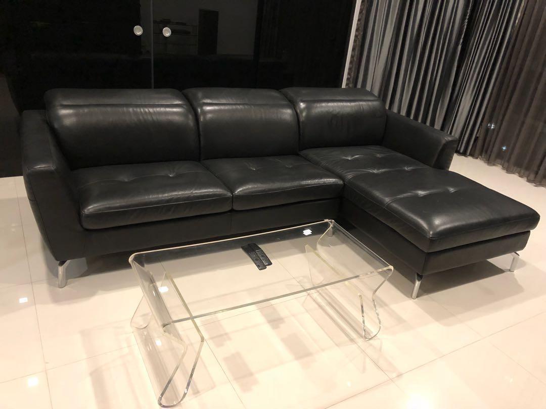 Leather Black Sofa Furniture Sofas