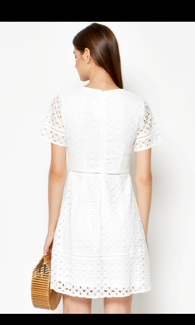 2b83d4ae5fea9 Love and Bravery Seraphine Eyelet Dress in White, Women's Fashion, Clothes,  Dresses & Skirts on Carousell