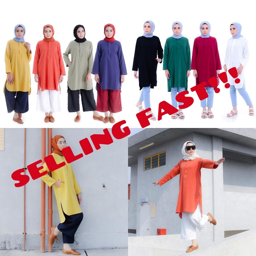 c7746798e82 MEHDIA LINEN TOP 2.0 baju peplum blouse fishtail tunic tunik kurti ...