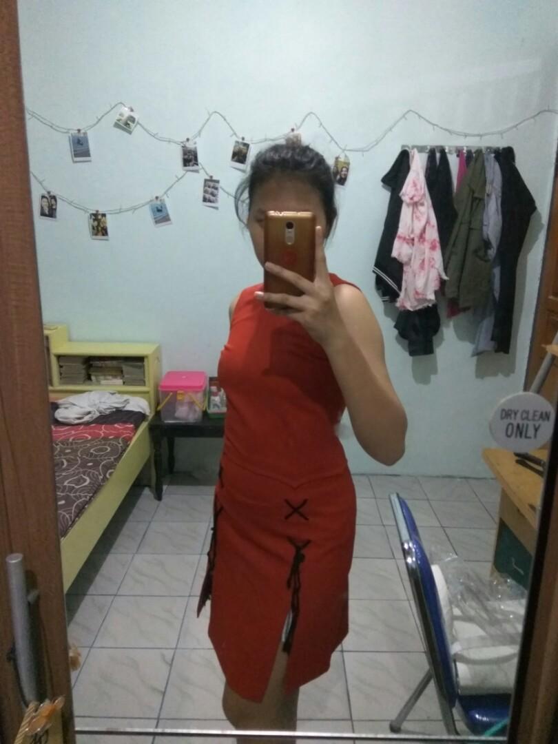 Red Midi Dress Pita