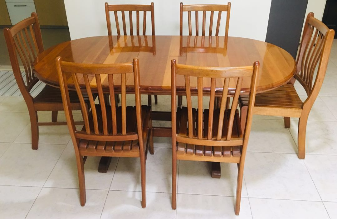 Original Teak Wood Retractable Dining Table With 6 Chairs Furniture