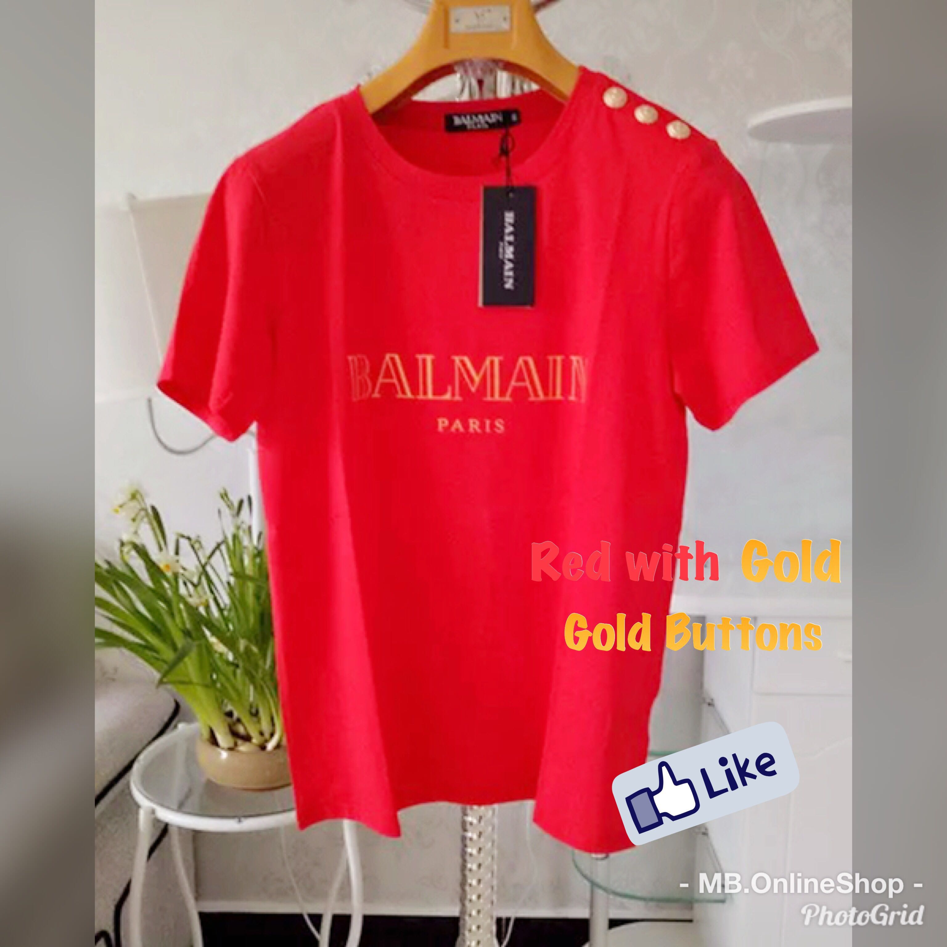 5e4ce9353 PO] Balmain Logo-Print Cotton T-Shirt , Women's Fashion, Clothes ...