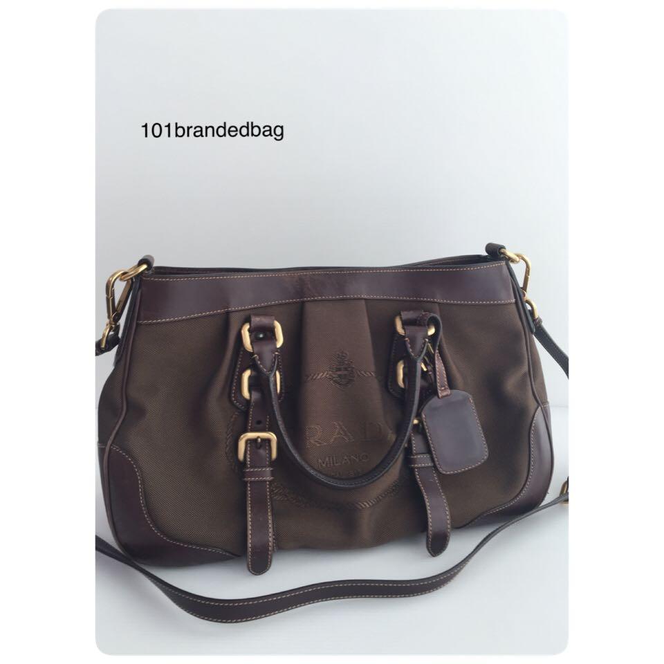 dc5fa271eb78b1 Prada BN1186 Logo Jacquard 2Way Bag, Luxury, Bags & Wallets on Carousell