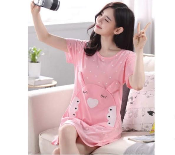 1eda8e51b44 Ready SG stock  Adorable pink Korean style pyjamas nightdress ...