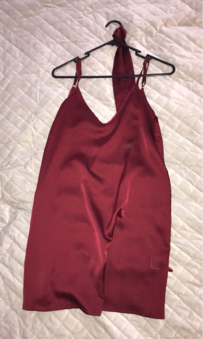 a55c46ee761 Satin   Silk slip dress Wine   Burgundy