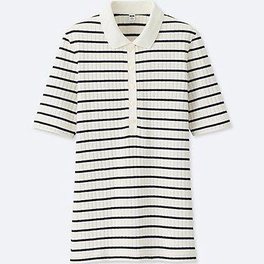 c9a0680012 UNIQLO stripe ribbed polo tee women blue white, Women's Fashion ...