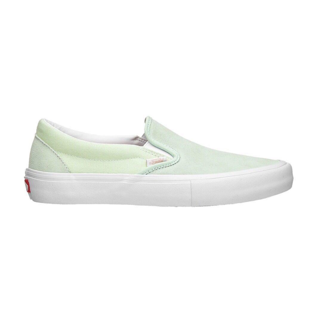 Vans Leather Slip On Mint Green, Men's