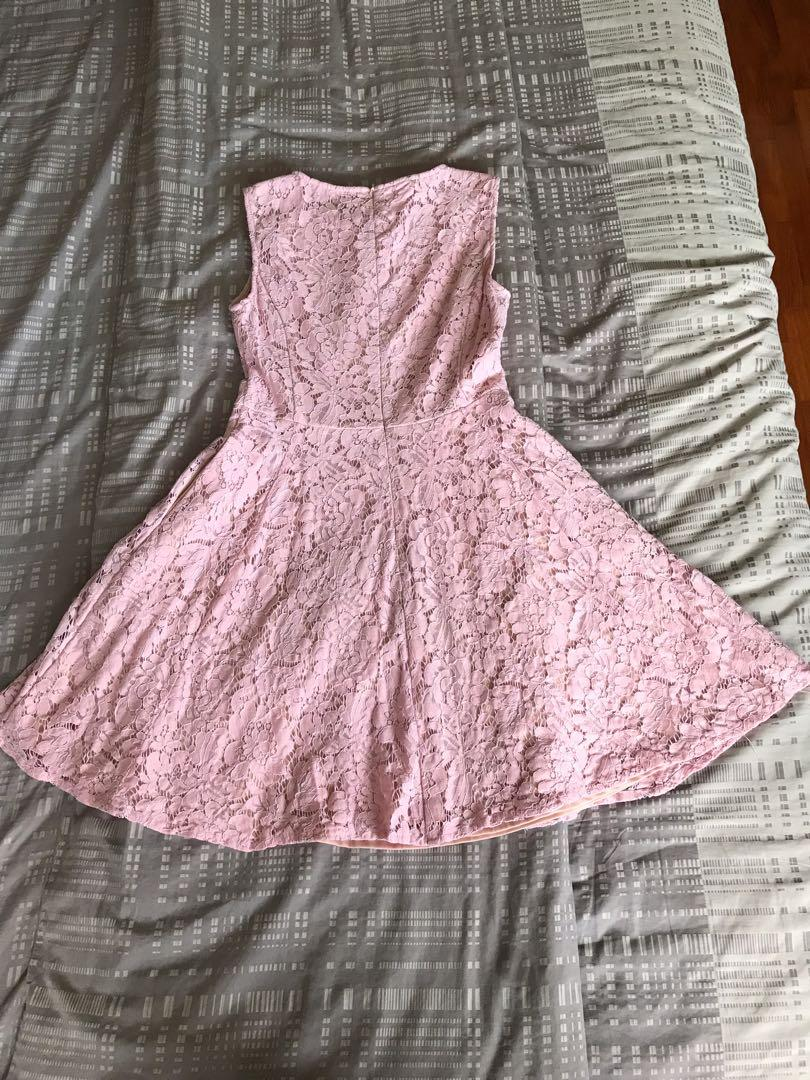 Zalora collection lace dress in pink