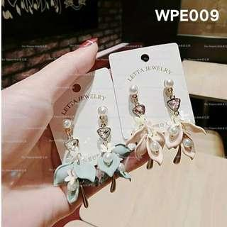 【Her Majesty的秘密花園】韓版氣質花瓣珍珠水鑽造型耳環耳墜耳飾WPE009