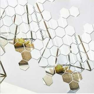 Hiasan dinding kaca cermin hexagonal 1paket isi 10pcs