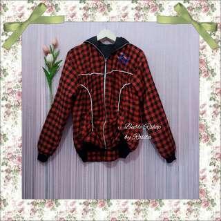 Jacket Jaket Outer Outwear Luaran Wanita Tartan Flanel Kaos Berfuring Tebal