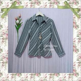 Kemeja Hem Wanita Blouse Top Atasan Wanita Baju Kerja Kuliah Blastery Striped Hitam Putih Salur