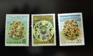 中國1985年J116西藏自治區成立二十周年紀念郵票1套3枚,品相完美