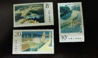 中國1984年T95長江葛洲垻水利樞紐工程紀念郵票1套3枚,品相完美