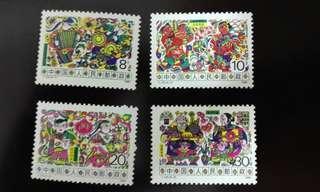中國1988年T125農村風情郵票1套4枚,品相完美