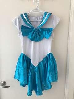 Sailor Moon Sailor Mercury Halloween Costume - incl gloves and headband! Size small/size 4