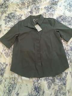 COS Green Button up T-shirt