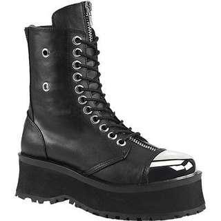 Demonia unisex gravedigger goth combat boots silver 9.5/11