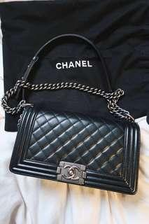 Authentic Chanel BOY medium ruthenium metallic black caviar lightly used