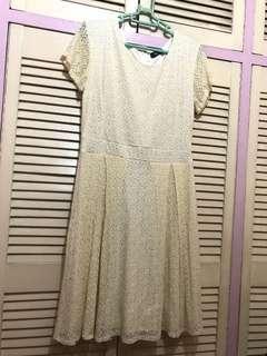 HUG Beige Pleated Dress