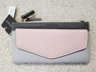 TOPSHOP Grey Taupe Leather Look Double Zip Purse