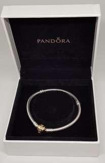 Pandora Bracelet with 14ct Gold Clasp