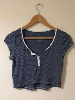 Blue and White Stripped V-Neck Crop Top