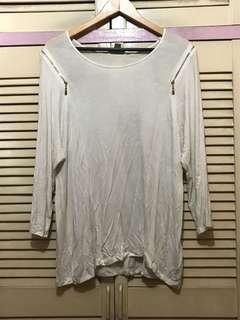 FOREVER 21 White Zip Long Sleeves