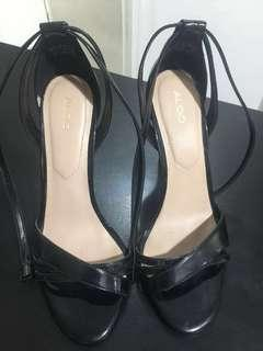 Strappy High Heels Sandals Shoes Patent Black