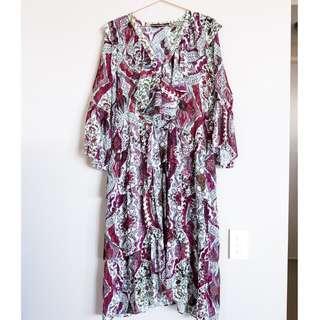 ZARA white/purple/red paisley floral ruffle maxi dress M (AU 10-12)