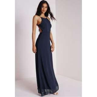 Navy Backless tie up maxi formal dress
