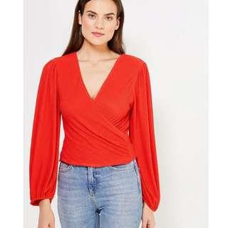 TOPSHOP V-neck wrap over red blouse textured long sleeve top AU 10
