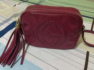 Authentic Gucci Soho Disco Bag in Pink Patent Leather