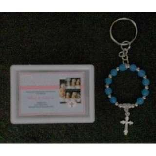 Ring Rosary Keychain in Acrylic box with print Souvenirs wedding baptismal