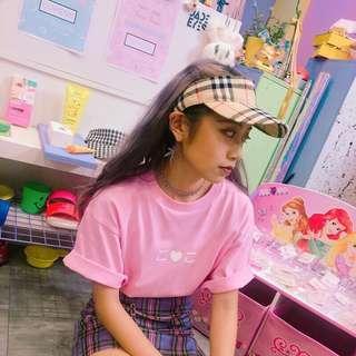 杏色格紋空頂帽♡