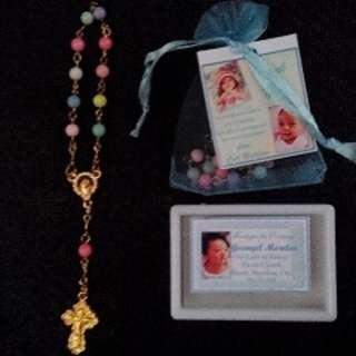 Candy color Pocket Rosary Gold Souvenirs wedding baptismal