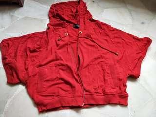 Red drawstring hoodie