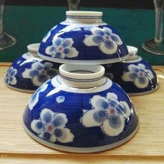 Japanese Blue Sakura Flower Soup Bowl Set