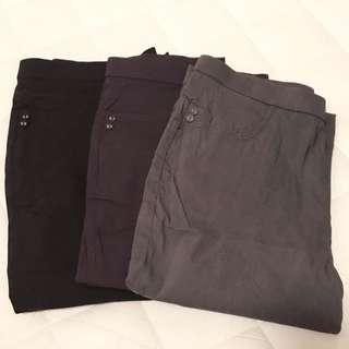 女裝彈性直腳褲 黑色 深紫色 深灰色 XXL