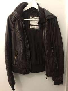 Garage Leather Bomber Jacket