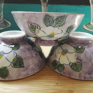 Japanese White Lotus Flower Soup Bowl Set