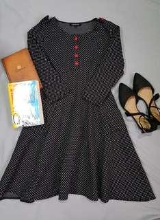 Polka Dress with red buttons