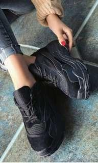 Black sneakers thick chunky sole
