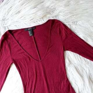 Forever 21 Ribbed Body Suit in Red