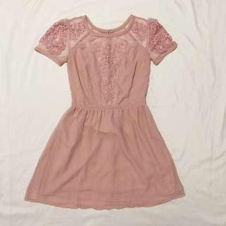 Pink Embroidered Mesh Dress