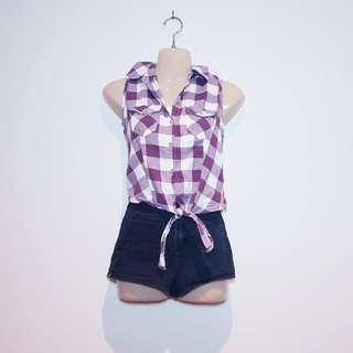 GIRL EXPRESS - Size 6 - White and Purple Plaid Button Up Singlet