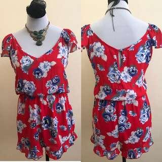 Cotton on Red flower dress romper