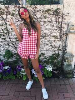 Sabo skirt playsuit red