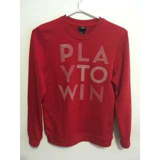 red sweater with cute lettering