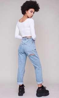 THE RAGGED PRIEST BUTT CUT JEANS IN LIGHT BLUE